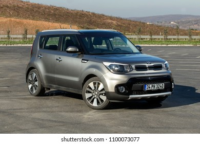 Istanbul/Turkey - January 30 2018 : Kia Soul is a front-engine, front-wheel-drive, five-door subcompact crossover manufactured and marketed worldwide by Kia and now in its second generation.