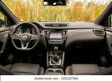 Istanbul/Turkey - January 9 2018 : The Nissan Qashqai is a compact crossover SUV produced by the Japanese car manufacturer Nissan. It's interior very elegant.