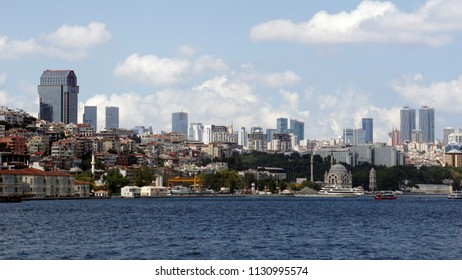 Istanbul,Turkey - July 09,2018: Coastal safety security ship sea villas forest in city coastal line istanbul turkey ships boats houses