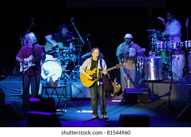 ISTANBUL,TURKEY - JULY 19 : Paul Simon and his band perform at Cemil Topuzlu Open Air Theater on July 19, 2011 in Istanbul, Turkey