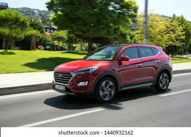 Istanbul/Turkey - July 2 2019 : Hyundai Tucson is a compact crossover SUV produced by the South Korean manufacturer Hyundai.