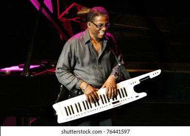 ISTANBUL,TURKEY - JULY 2: American pianist Herbie Hancock played at the Cemil Topuzlu Open Air Theater on July 2, 2008, in Istanbul, Turkey