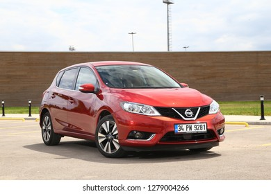 Istanbul/Turkey - July 20 2016 : Nissan Pulsar is a subcompact and compact car produced by the Japanese automaker Nissan.