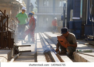 Istanbul/Turkey, July 2019; Shipyard worker repair the ship. Ship during construction works in a shipyard on a shipway.
