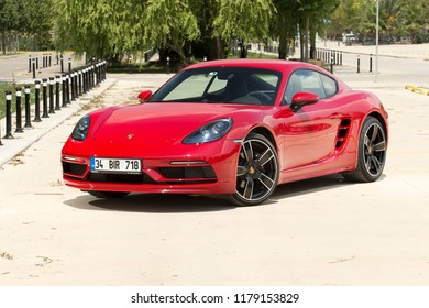 Istanbul/Turkey - July 26 2018 : Porsche Cayman 718 is a mid-engined two-seater sports car built by Porsche.