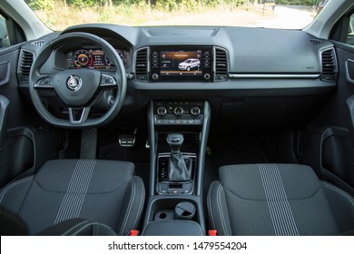 Istanbul/Turkey - July 29 2019 : Skoda Karoq is a compact crossover SUV designed and built by the Czech car manufacturer Škoda Auto. The vehicle is based on VW MQB platform.