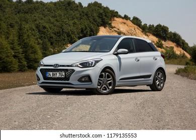 Istanbul/Turkey - July 4 2018 : Hyundai i20 is a supermini car produced by the South Korean manufacturer Hyundai.