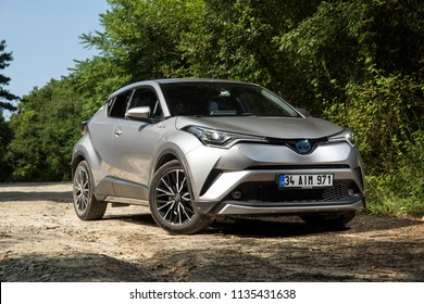 Istanbul/Turkey - July 5 2018 : Toyota C-HR Hybrid is a subcompact crossover SUV produced by Toyota.