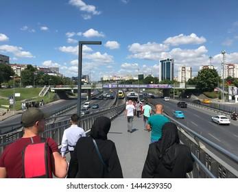 ISTANBUL,TURKEY- July 5 ,2019: Zeytinburnu Metrobus Station