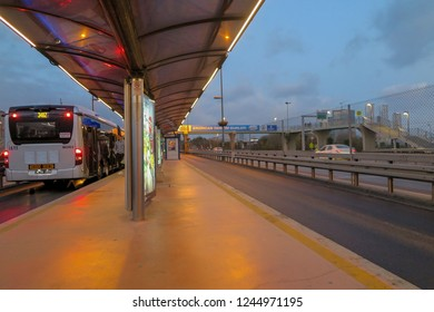 ISTANBUL/TURKEY - JUNE 02, 2018: Interior close up wide angle view from Metrobus line in Istanbul. Metrobus is a 50 km bus rapid transit route in Istanbul, Turkey with 45 stations.