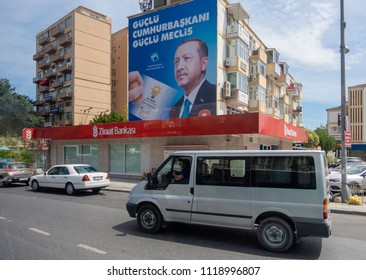 Istanbul,Turkey- June 11,2018:Ahead of Early Presidential and Parliamentary Elections in Turkey A billboard picturing President Tayyip Erdogan is posted by the ruling Justice and Development Party