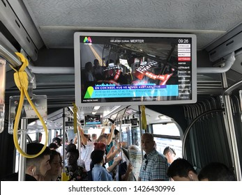 ISTANBUL,TURKEY - June 17, 2019: Modyo TV screens broadcast on istanbul metro and metrobus