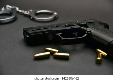 Istanbul/Turkey, June 2019; 9mm hand gun and bullet. Pistol isolated on isolated background.