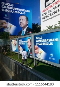 Istanbul,Turkey- June 20,2018:Ahead of Early Presidential and Parliamentary Elections in Turkey A billboard picturing President Tayyip Erdogan is posted by the ruling Justice and Development Party