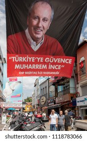 Istanbul,Turkey- June 21,2018:Turkey prepares for presidential and parliamentary elections in 2018. A campaign poster for The Republican People's Party (CHP) presidential candidate Muharrem Ince  show