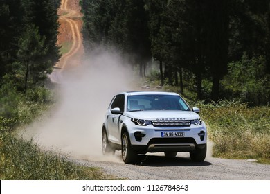 Istanbul/Turkey - June 24 2016 : Land Rover Discovery Sport is a high end subcompact luxury crossover SUV produced by British automotive company Jaguar Land Rover under their Land Rover marque.