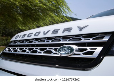 Istanbul/Turkey - June 24 2016 : Land Rover Discovery Sport is a high end subcompact luxury crossover SUV. It has an elegant logo design.