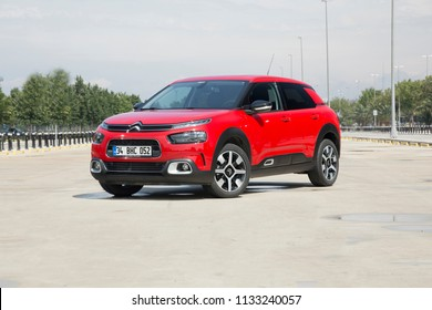 Istanbul/Turkey - June 27 2018 : Citroen C4 Cactus is a subcompact crossover SUV, produced by French automaker Citroen.