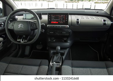 Istanbul/Turkey - June 27 2018 : Citroen C4 Cactus is a subcompact crossover SUV, produced by French automaker Citroen. It has unique interior design.