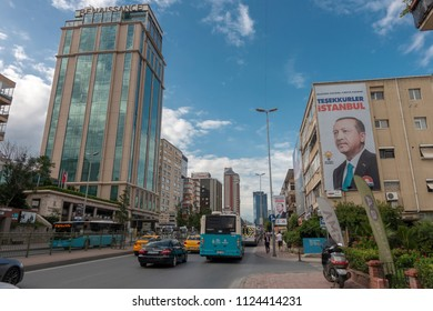 Istanbul,Turkey- June 29,2018: İmage of Turkish President Recep Tayyip Erdogan which translates as 'Thank you Istanbul' at Balmumcu District in Istanbul .Recep Erdogan won the election