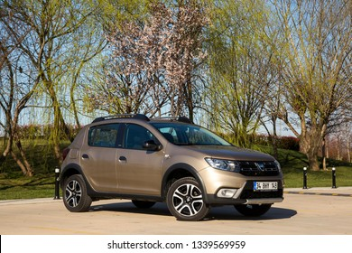 Istanbul/Turkey - March 11 2019 : Dacia Sandero is a subcompact car produced jointly by the French manufacturer Renault and its Romanian subsidiary Dacia.