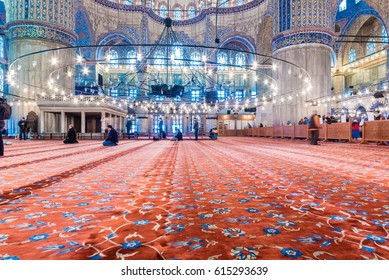 ISTANBUL/TURKEY- MARCH 11,2017:Interior of blue Mosque also called Sultan Ahmed Mosque or Sultan Ahmet Mosque in Istanbul, Turkey.Ceiling decorations with Islamic elements of Sultan Ahmed Mosque dome.