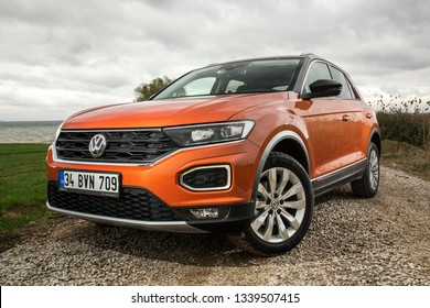 Istanbul/Turkey - March 13 2019 : Volkswagen T-Roc is a subcompact crossover SUV manufactured by German automaker Volkswagen.