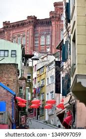 Istanbul/Turkey, March 2019; Balat district street view in Istanbul. Balat is popular tourist attraction in Istanbul, Turkey