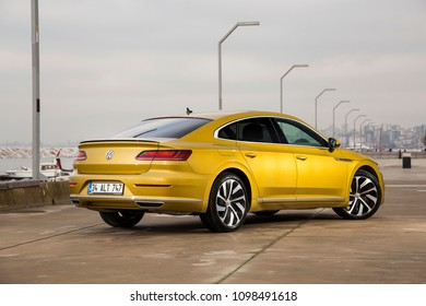 Istanbul/Turkey - March 22 2018 : Volkswagen Arteon is a four-door fastback based on the Volkswagen Group MQB platform. The Arteon has an seven speed automatic transmission.