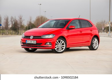Istanbul/Turkey - March 22 2018 : Volkswagen Polo is a car produced by the German manufacturer Volkswagen. It is sold in Europe and other markets worldwide in hatchback, sedan and estate variants.