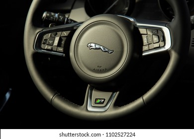 Istanbul/Turkey - March 23 2018 : Jaguar E-Pace is a subcompact luxury crossover SUV produced by the British car manufacturer Jaguar Land Rover (JLR). It has an elegant steering wheel.
