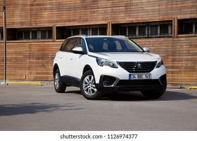 Istanbul/Turkey - May 13 2018 : Peugeot 5008 is a compact MPV/mid-sized crossover SUV by French automaker Peugeot. Five and seven seat versions are currently available.