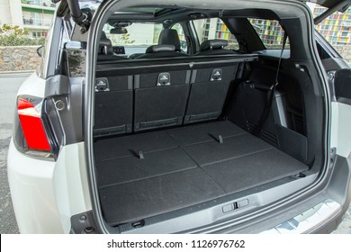 Istanbul/Turkey - May 13 2018 : Peugeot 5008 is a compact MPV/mid-sized crossover SUV by French automaker Peugeot. Five and seven seat versions are currently available. It has unique interior design.