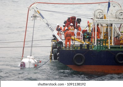 Istanbul/TURKEY, May 15, 2018: Submarine research ship and engineers