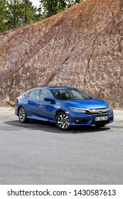 Istanbul/Turkey - May 15 2019 : Honda Civic is a line of cars manufactured by Honda. This is the Eco version with LPG.