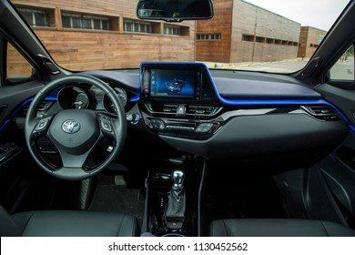 Istanbul/Turkey - May 17 2017 : Toyota C-HR Hybrid is a subcompact crossover SUV produced by Toyota. It has unique interior design.