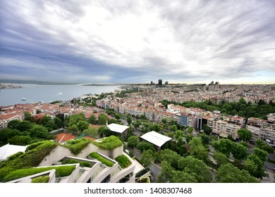 Istanbul/Turkey, May 2019; Bosphorus Strait and Besiktas District in Istanbul City, Turkey