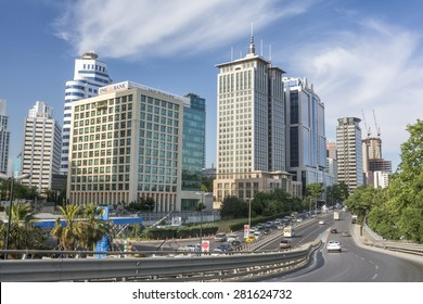 ISTANBUL,TURKEY, MAY 26, 2015: Traffic flowing in Maslak; one of the main business districts of Istanbul, located on the European side of the city.