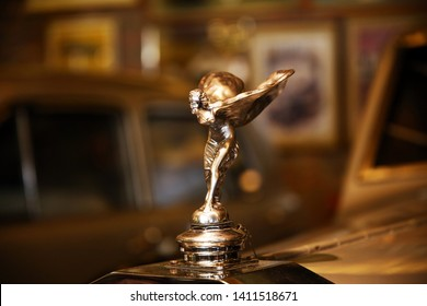 Istanbul/Turkey - May 3 2019 : The Spirit of Ecstasy is the bonnet ornament sculpture on Rolls-Royce cars. It is in the form of a woman leaning forwards with her arms outstretched behind and above her