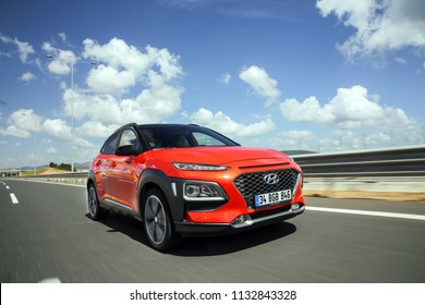 Istanbul/Turkey - May 31 2018 : Hyundai Kona is a subcompact five door crossover SUV designed by the South Korean manufacturer Hyundai.