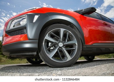 Istanbul/Turkey - May 31 2018 : Hyundai Kona is a subcompact five door crossover SUV designed by the South Korean manufacturer Hyundai. It has unique rim design.