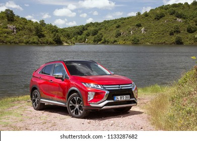 Istanbul/Turkey - May 31 2018 : Mitsubishi Eclipse Cross is a compact crossover SUV produced by Japanese automaker Mitsubishi Motors.