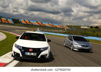 Istanbul/Turkey - May 5 2016 : Honda Civic Type R  is the highest performance version of the Honda Civic made by Honda Motor Company of Japan. These are the new and old versions.