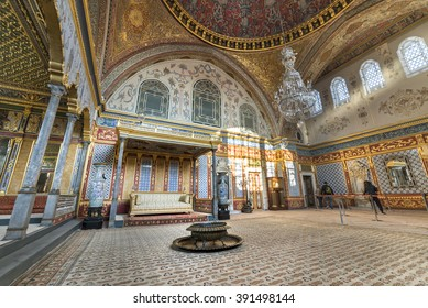 ISTANBUL,TURKEY, NOVEMBER 11,2015: Detail from throne room inside Harem section of Topkapi Palace, entertainment, weddings and exchange of Bayram felicitations took place in this hall.