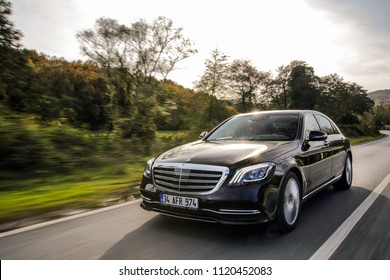 Istanbul/Turkey -November 12 2017 : Mercedes-Benz S-Class is a series of luxury flagship vehicles produced by the German automaker Mercedes-Benz, a division of German company Daimler AG.
