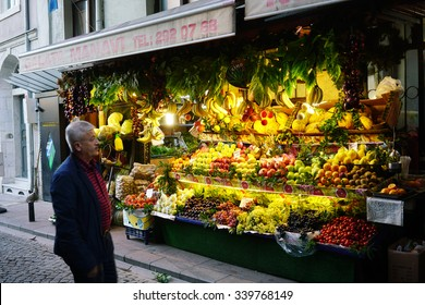 ISTANBUL,TURKEY, NOVEMBER 13, 2015:Fruit and vegetable store in Galata District