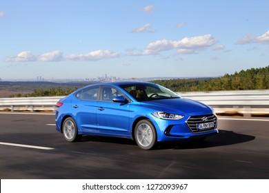 Istanbul/Turkey - November 13 2016 : Hyundai Elantra in South Korea, is a compact car produced by the South Korean manufacturer Hyundai since 1990.