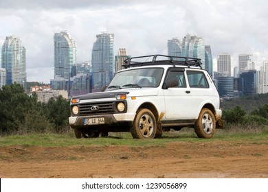 Istanbul/Turkey -November 17 2018 : Lada 4×4, formerly called the Lada Niva is an off-road vehicle designed and produced by the Russian manufacturer AvtoVAZ.
