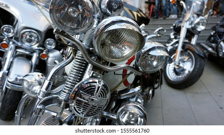 Istanbul/Turkey, November 2019, Different types of motorcycles parked at the Istanbul. With many chopper
