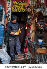 Istanbul,Turkey - November 20,2016 : Preparation for welding work - copper welding workshop
